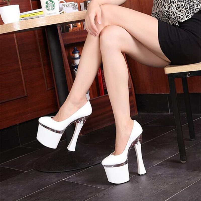 ladies shoes Superior quality <font><b>18CM</b></font> Coarse <font><b>heel</b></font> Super <font><b>high</b></font> <font><b>heels</b></font> Waterproof 8CM <font><b>Sexy</b></font> leather zapatos mujer Increasing USA 4-14 15 image