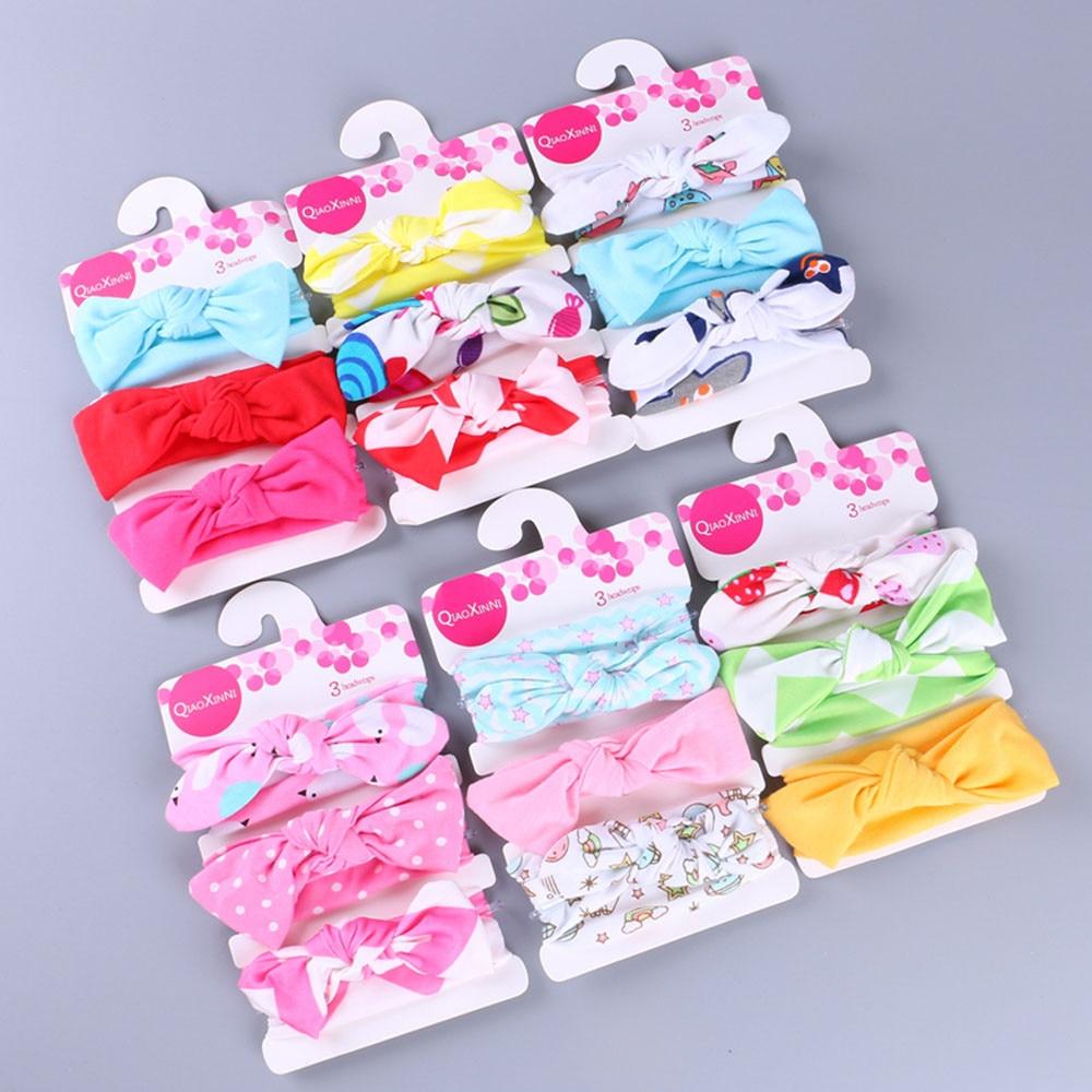 Fashion Kids Floral Headband Girls Baby Elastic Bowknot Accessories Hairband Set 3Pcs L1007