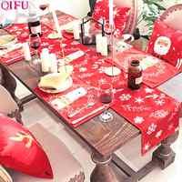 QIFU feliz camino de mesa navideño adornos navideños para el hogar 2019 Natal Navidad Mantel Individual navideño Feliz Año Nuevo 2020 regalos
