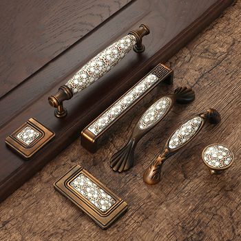 Antique Bronze Ceramic Cabinet Handles Vintage Drawer Knobs Wardrobe Door Handles European Furniture Handle Hardware antique bronze sculpture luxury hotel clubs handle chinese glass door wooden door handles villa handle