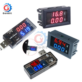 0.56 LED Digital Voltmeter Ammeter DC 100V 10A Current Voltage Meter USB Charger Doctor Car Motorcycle Volt Amp Detector Tester image