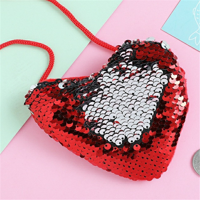 Fashion Baby Girl Princess Heart Shape Bags Shoulder Paillette Bag Crossbody Heart Mini Bags Kids Colorful Luxurious Wallet