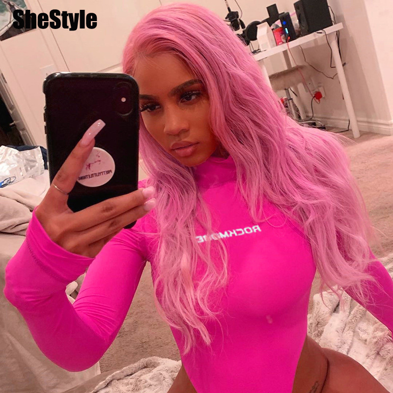 Shestyle Pink High Waist Letter Bodycon Bodysuits Women Long Sleeve High Neck Rose Red Sexy Fashion Body Ladies Basic Slim Tops