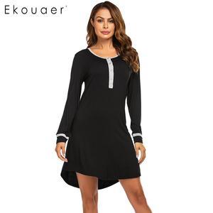 Image 3 - Ekouaer נשים סתיו כתונת לילה Nightwear Sleepshirts שמלת O צוואר ארוך שרוול כפתור טלאי אביב הלבשת לילה שמלה