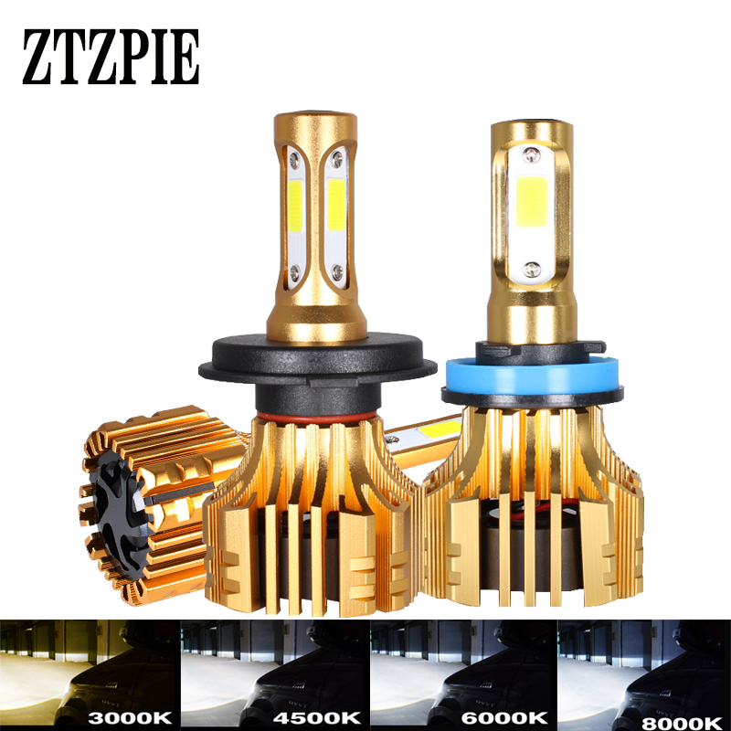 ZTZPIE 3000K 4500K 6000K 8000K 16000LM 9005HB3 H1H9 H8 H4 lampada 12V Car Led Headlight H3 H7 H11 9006/HB4 Led Bulbs Fog Lights image