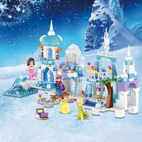 4 em 1 princesa sereia elsa anna castelo de gelo modelo blocos de construção kit brinquedos compatíveis com legoinglys amigos menina crianças presentes