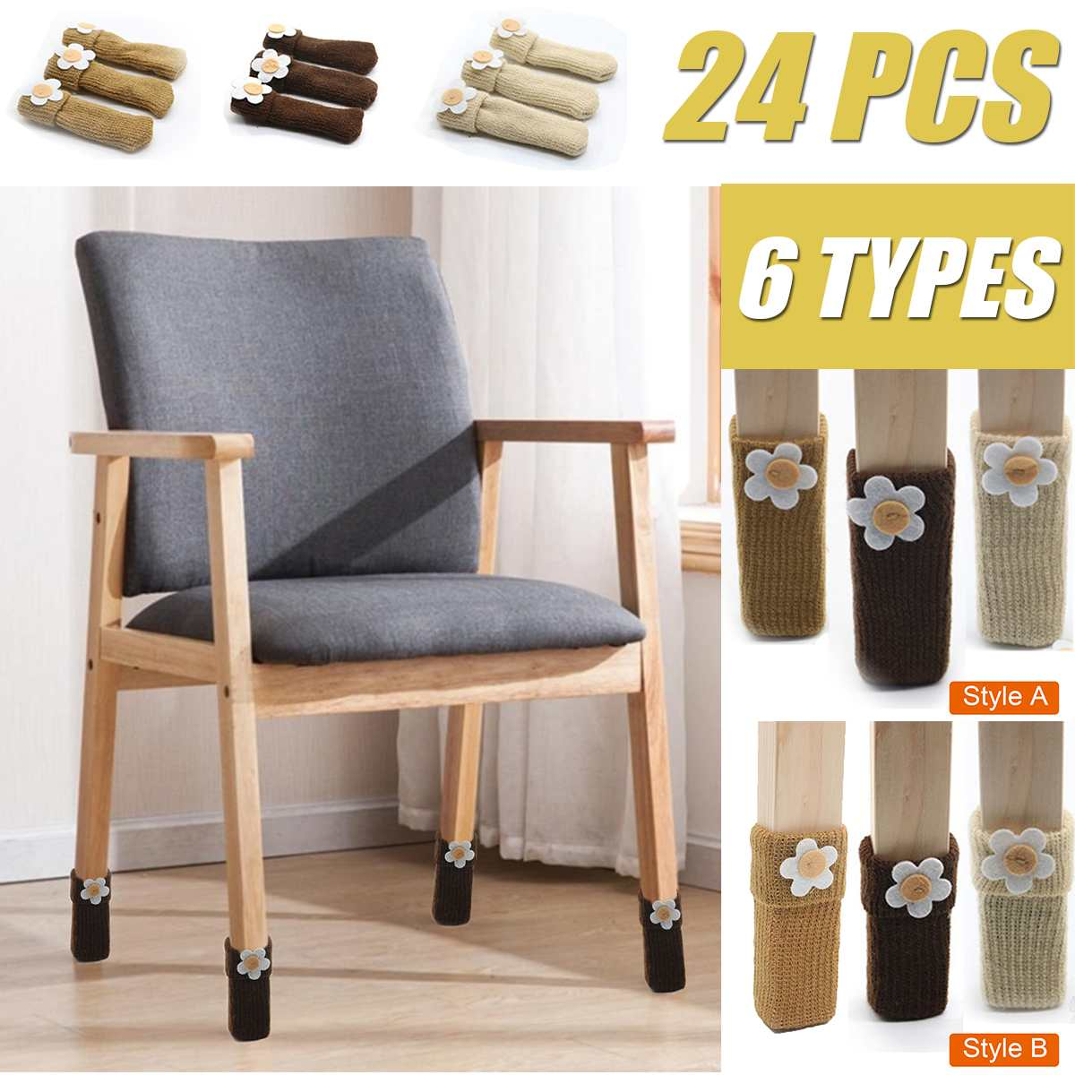 24PCS Floral Chair Leg Socks Elastic Thick Bottom Furniture Booties Floor Protector Non-slip Table Legs Knitted Chair Feet Cover