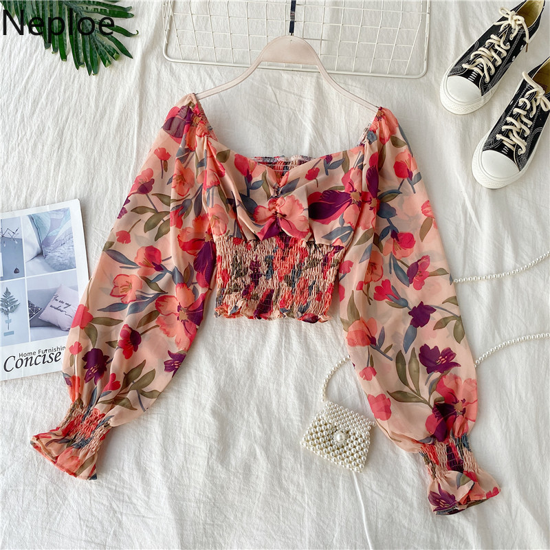 Neploe Retro Wooden Ear Print Blouse Holiday Beach Style Slim Fit Pleat Blusas Square Collar Off Shoulder Chiffon Shirt 48982(China)