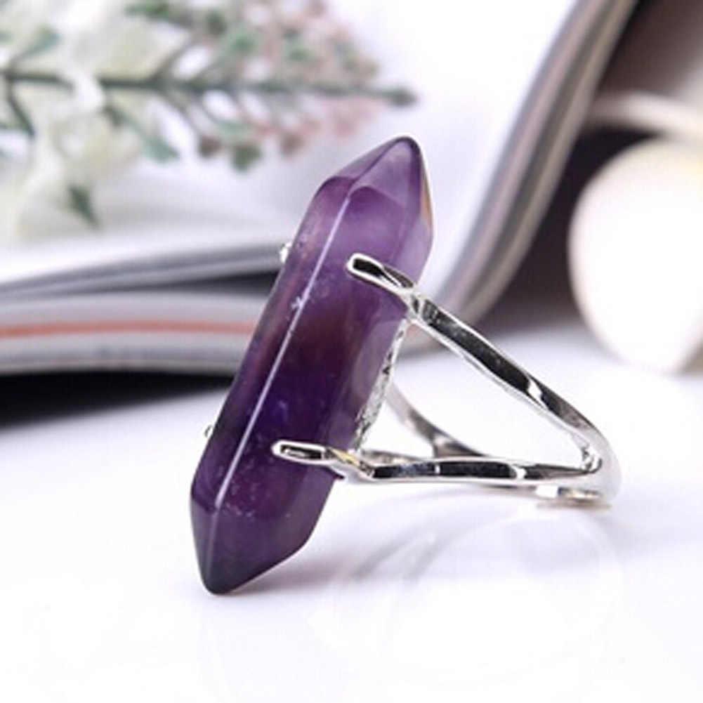 1Pcs Fluorite สีม่วงคริสตัล Rose สีชมพูควอตซ์โอปอลคริสตัลหินนิล Bicone ลูกปัด Faceted ลวดเหล็กไขลานแหวน