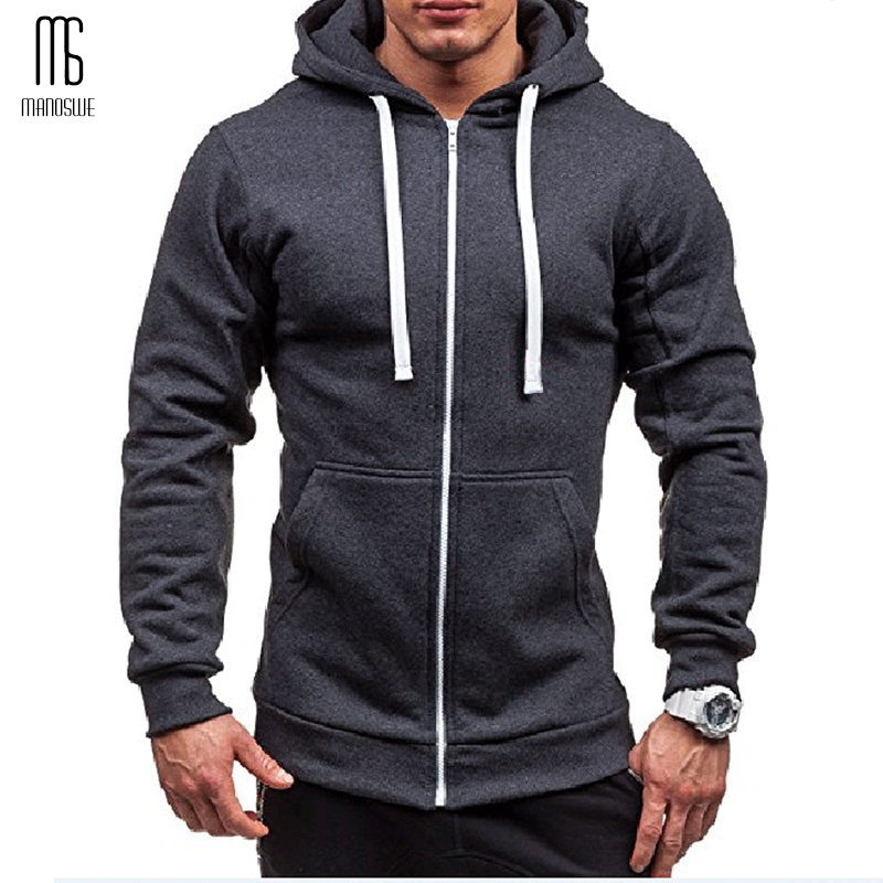Manoswe Pocket Solid Hooded Cardigan For Men Zipper Spring Black Hoodies Coat Men Casual Long Sleeve Sweatshirts Male Jackets