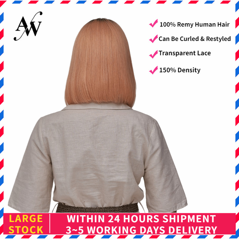 AW 10'' 12'' Rose Gold 150% Density Straight Bob Half Lace Wig Transparent Pre Plucked Hairline Lace Front Remy Human Hair Wig