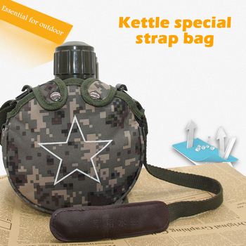 800ML Stainless steel bottle Vacuum flask Portable outdoor kettle Insulation pot military fan kettle with strap Thermal flask 5