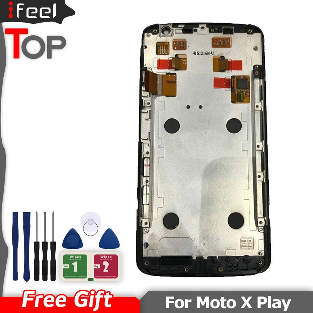 Para motorola moto x play x3 xt1561 xt1562 xt1563 display lcd com tela de toque digitador assembléia com quadro frete grátis
