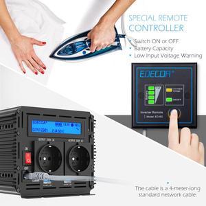 Image 3 - EDECOA sinusoidale pura potenza inverter onda DC 12V a AC 220V 1500W di picco 3000W con 5V 2.1A USB display LCD del telecomando