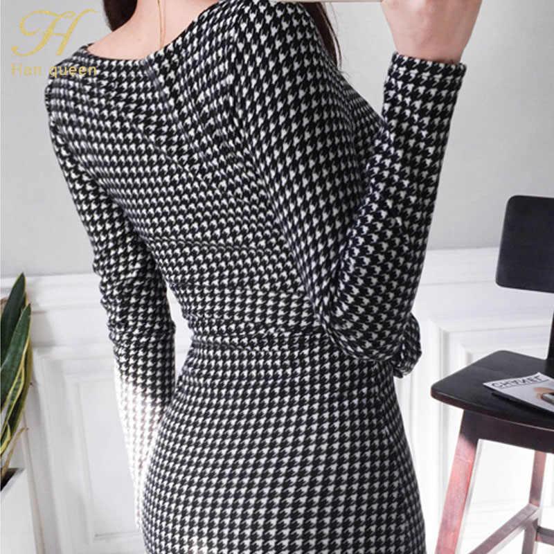 H Han queen в Корейском стиле, с поясом, облегающее платье в сетку, женское осеннее мини-платье с длинными рукавами 2019, сексуальные винтажные тонкие платья