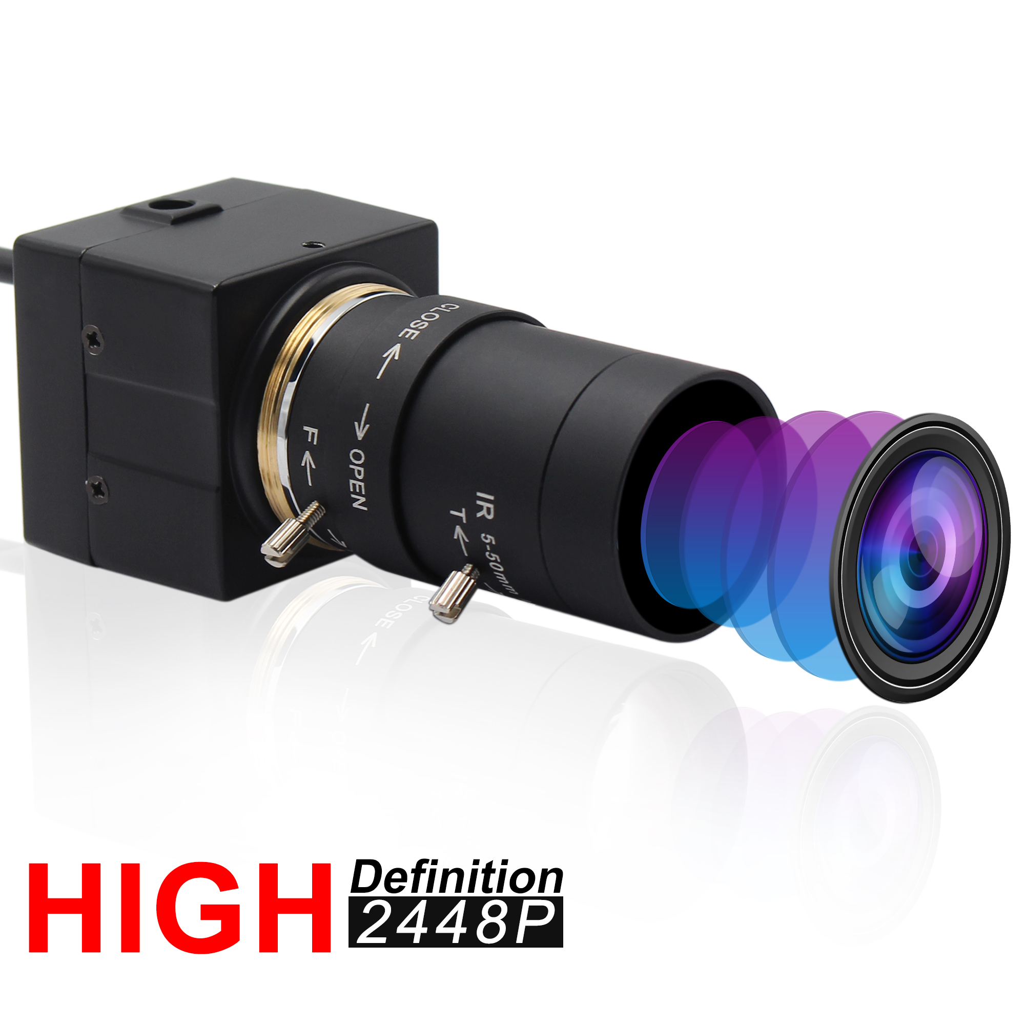 8MP Surveillance CCTV <font><b>SONY</b></font> <font><b>IMX179</b></font> Manual Iris Varifocal 2.8-12mm Lens Indurstrial USB Camera for Android ,Linux Windows Mac OS image