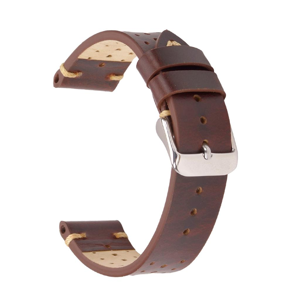 EACHE Rally Racing Leather Watch Band Handmade Vegetable Tanned Genuine Leather Watchband 18/20/22