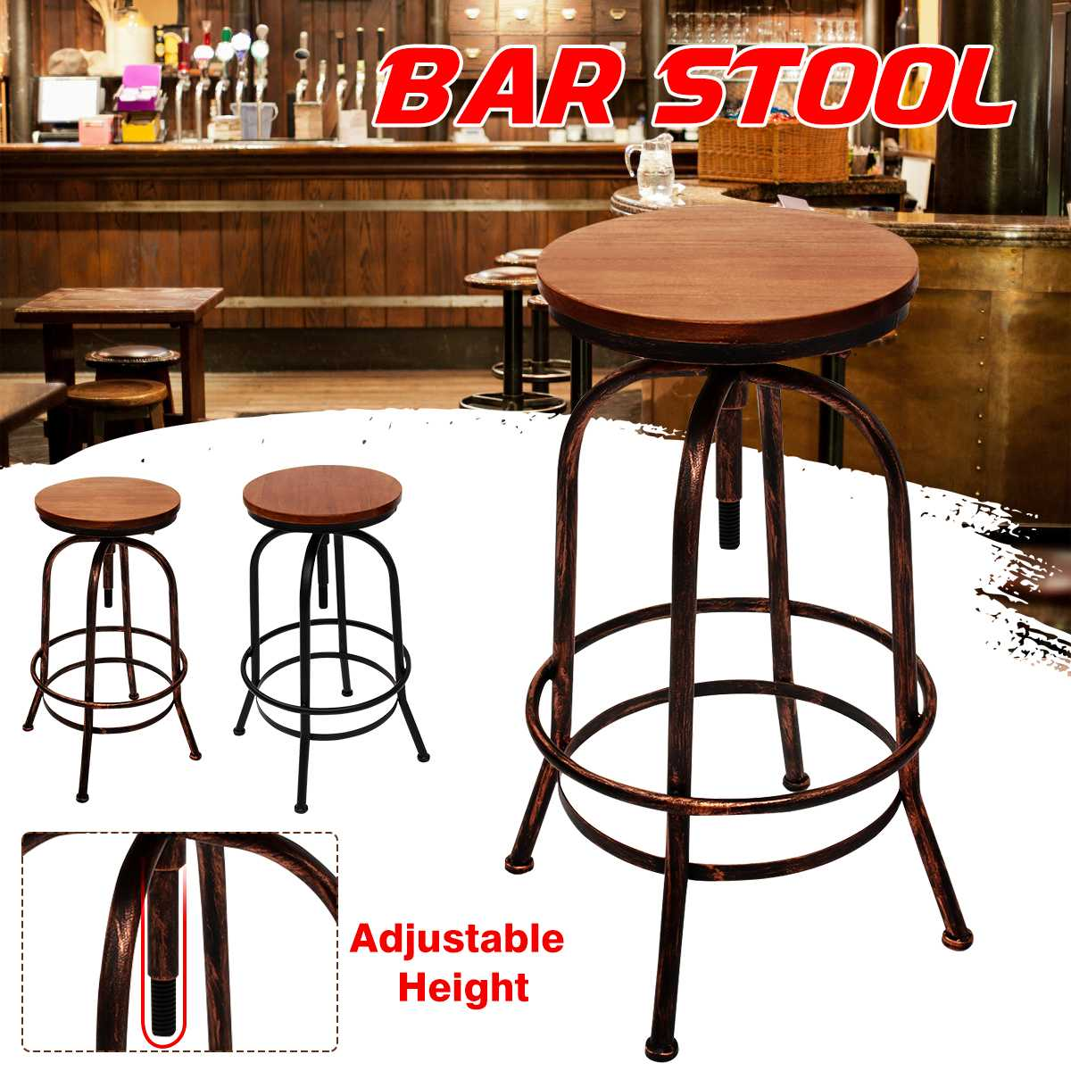 Vintage Bar Stool Industrial Retro Solid Wood Seat Bar Chair Adjustable Height Modern High Stool Kitchen Dining Chair Decoration
