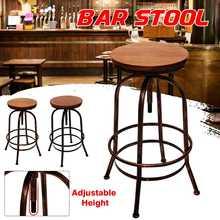 Taburete de Bar clásico Industrial Retro Silla de barra de madera maciza silla altura ajustable taburete alto moderno cocina Silla de comedor Decoración
