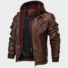 Abrigo nuevo con capucha extraíble para hombre, chaqueta de cuero sintético para motocicleta, informal, Otoño, 2020