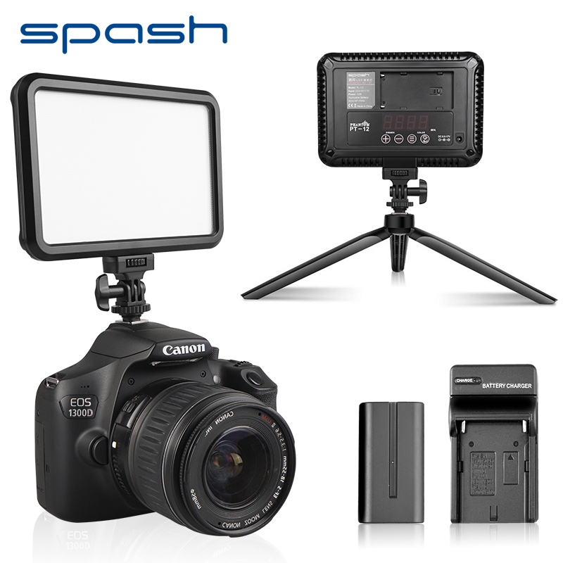 Spash TL-12 LED Video Light Photography Lighting On Camera Hot Shoe Bi-Color Dimmable Vlog Fill Light Lamp For DV Camcorder
