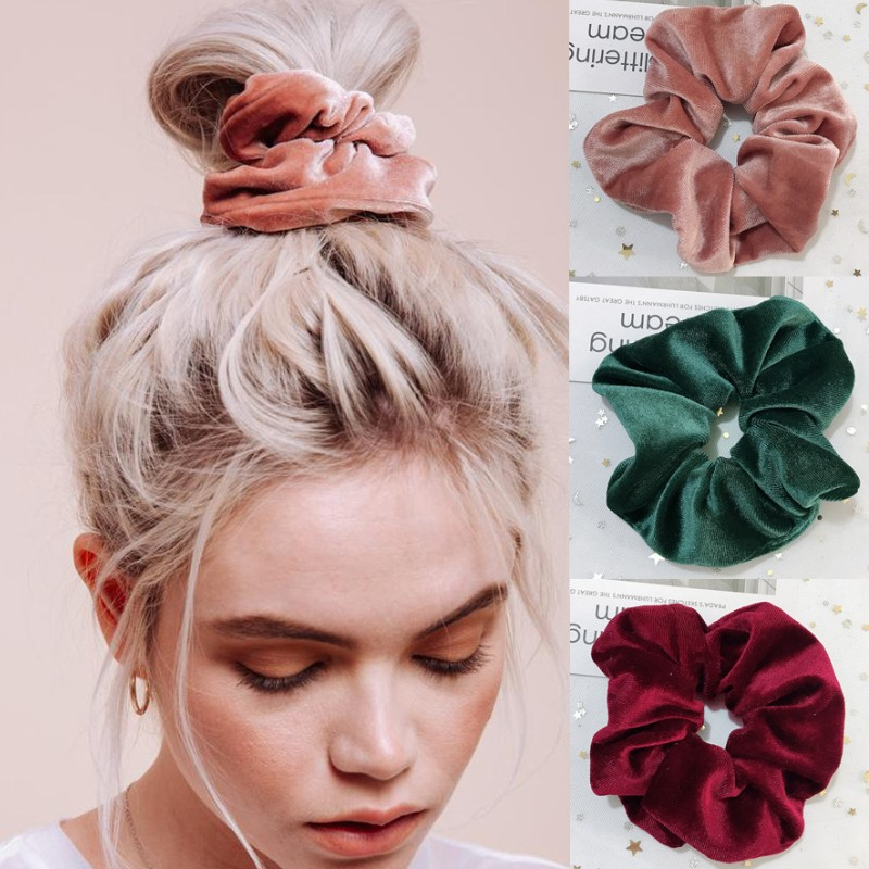 New 37Colors Korea Velvet Scrunchie Elastic Hair Bands Solid Color Fashion Headband Ponytail Holder Hair Ties Hair Accessoires
