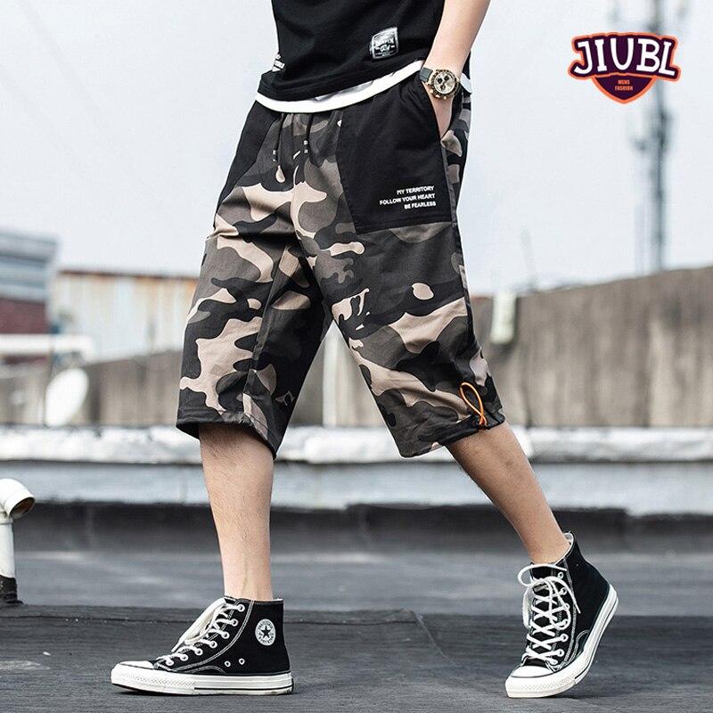 JIUBL Summer Camouflage Cargo Shorts Men Cotton Casual Outdoor Military Men's Shorts Multi-pocket Calf-length Short Pants Men
