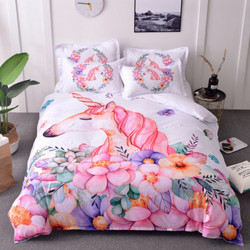 Unicorn Bedding Set cute cartoon bedding clothes Printed Duvet Cover Sets Queen King twin Quilt Cover fashion style Bed Linen