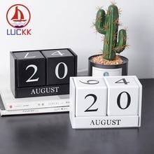 LUCKK Wood Calendar Planner Creative Vintage Wood Block Reusable DIY Month Date Display Perpetual Home Office Room Desktop Decor