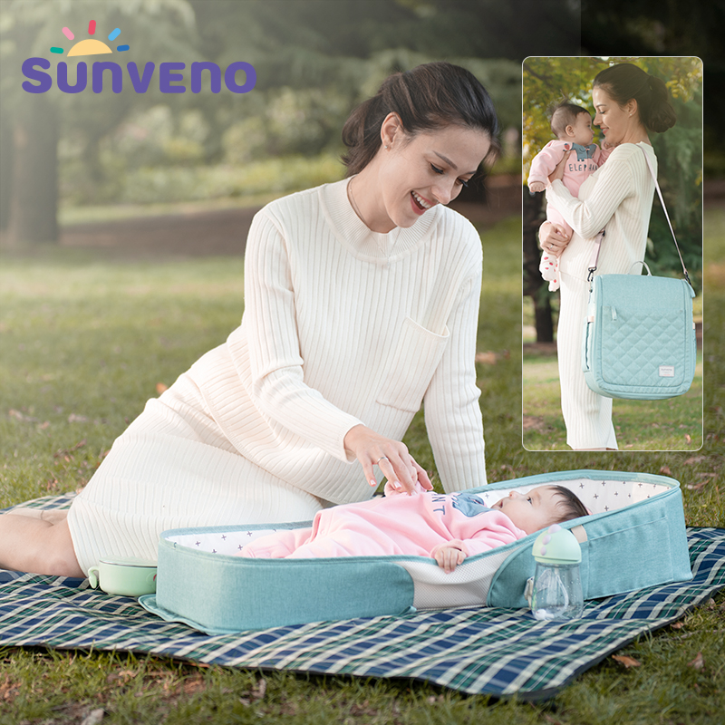 SUNVENO Baby Portable Bed Bag Foldable Newborn Travel Crib Carry-on Nest Bed Diaper Bag Bed For Baby 0-6M