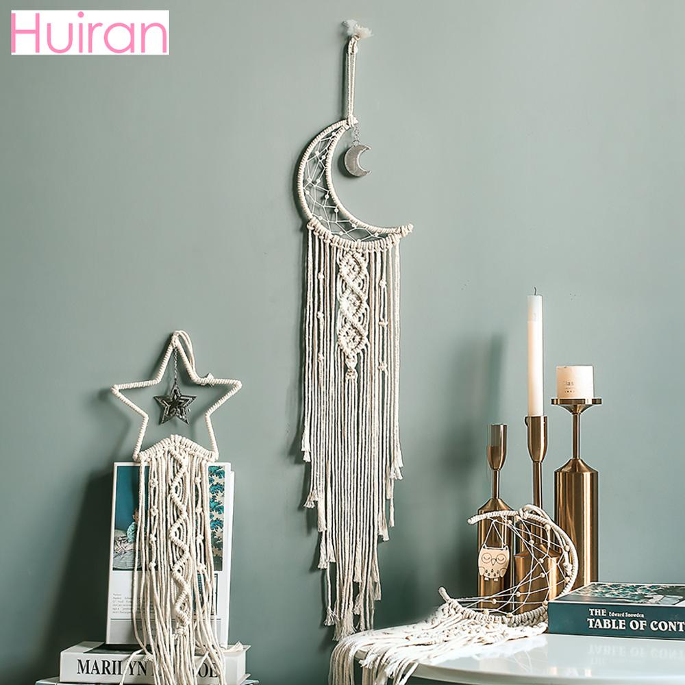 HUIRAN Moon Star Hand-woven Tapestry Macrame Wall Hanging Bohemian Home Decorations Tenture Murale Tissus Psychedelic Tapestry