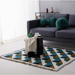 Image 5 - Vintage geometrik yeşil kanepe atmak battaniye örme kanepe ağırlıklı battaniye pamuk kanepe/sandalye kılıfı halı halı seyahat battaniyesi