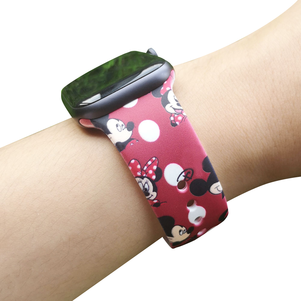 Cartoon Mouse bracelet strap for iwatch series 4 3 2 1 40mm 44mm Sport Silicone band for Apple watch 38mm 42mm Women Wristband image