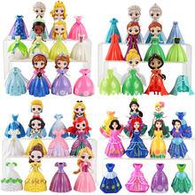 Clipe mágico princesa figuras magiclip vestido pvc modelo brinquedos