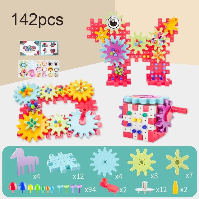 Kids 3D Gears Block DIY Toy Mushroom Nail Plastic Educational Toys Assembly Building Blocks Kit Bricks Toys For Boys Girls