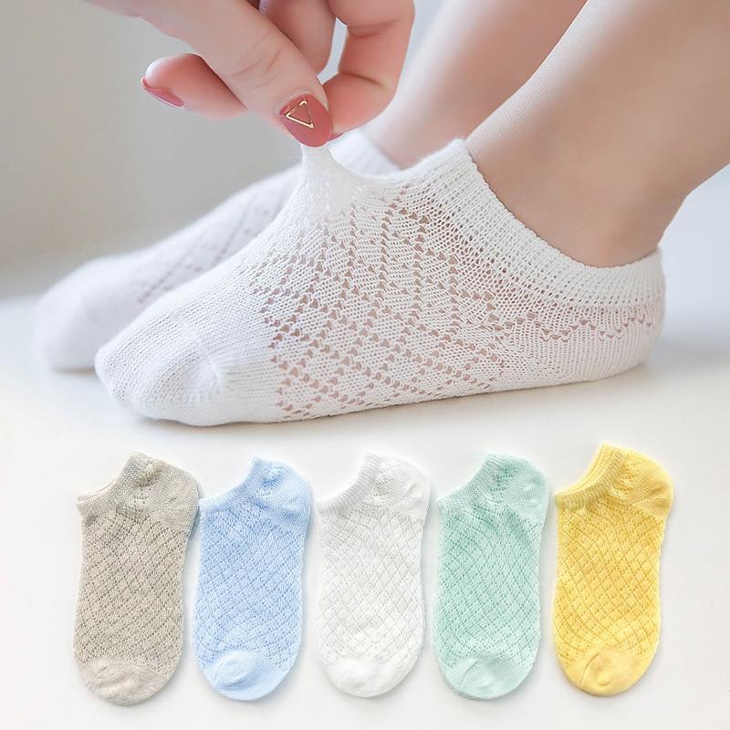 5 Pairs/Lot Children Cotton Socks Boy Girl Baby Infant Ultrathin Fashion Breathable Solid Mesh Socks For Summer 1-12T Teens Kids 1