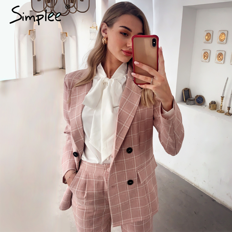 Simplee Fashion plaid women blazer suits Long sleeve double breasted blazer pants set Pink office ladies two-piece blazer sets image