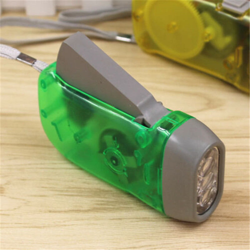 ZANCAKA Hand Crank Flashlight Manual Generator Battery-Free Product Plastic 3 LED Dynamo Camping Lights Hand Pressing Flashlight