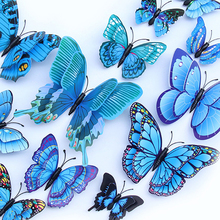 12pcs simulation butterfly wall decoration stickers creative home DIY Plant floral