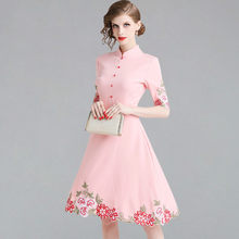 2019New Arrival Floral Embroider Womens Dresses Elegant A Line Casual Dress Ladies Slim Vintage Summer Office Vestidos(China)