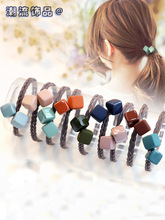 2019 Fashion Square Shape Hair Accessories Hair Rope Simple Tie Hair Rubber Band Hair Ring Girl Temperament Head Jewelry coffee square hair ring