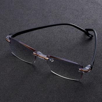 Men Women Rimless Reading Glasses Far Near Anti Blue Light Magnification Eyewear Presbyopic Glasses Diopter 1.0 To 3.0 Degree sys0076 3 0 diopter reading presbyopic glasses black