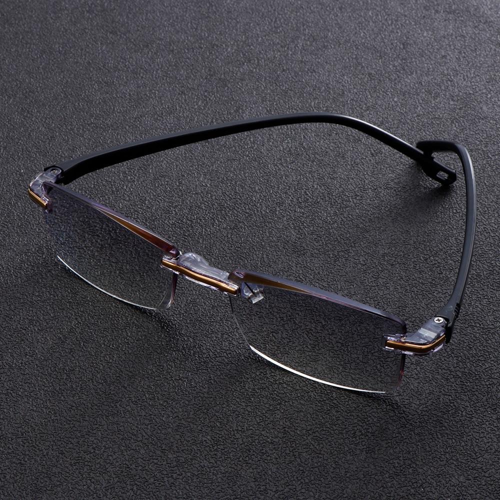 Men Women Rimless Reading Glasses Far Near Anti Blue Light Magnification Eyewear Presbyopic Glasses Diopter 1.0 To 3.0 Degree