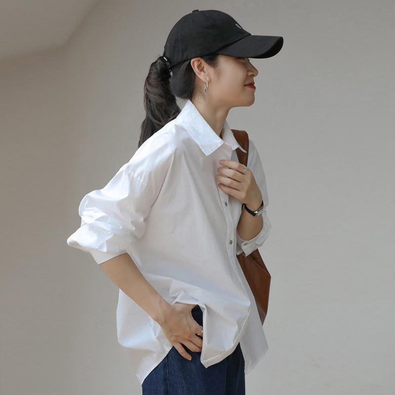 2021 Spring Summer Women Blouse Korean Long Sleeve Womens Tops Blouses  Solid Loose Women Shirts Blusas Roupa Feminina Tops 9