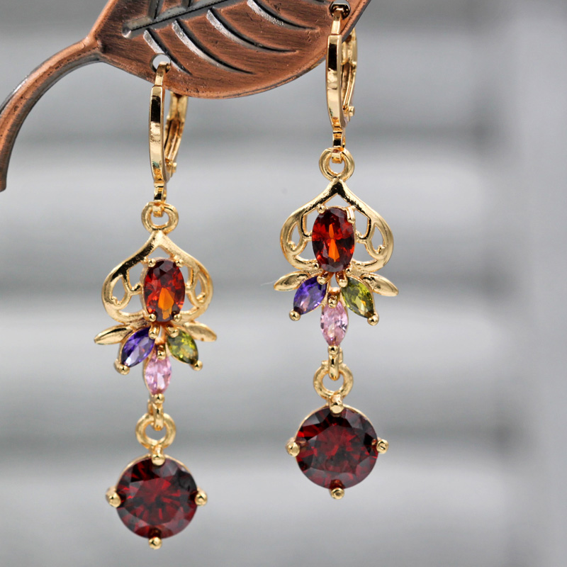 Hf346c39bd95c4cb98861f3628b3aaf3eh - Trendy Vintage Drop Earrings For Women Gold Filled  Red Green Pink Lavender Zircon Earrings Gold  Earring Wedding  Jewelry