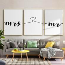 Pintura de tela preto e branco da frase da senhora sr. & sra., posteres e impressões, sala de estar, quarto, imagens de arte de parede, casa decoração