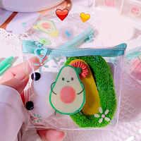 Monedero con estampado de aguacate y dibujos animados para mujer y niño, cartera transparente para tarjeta de PVC, 1 unidad