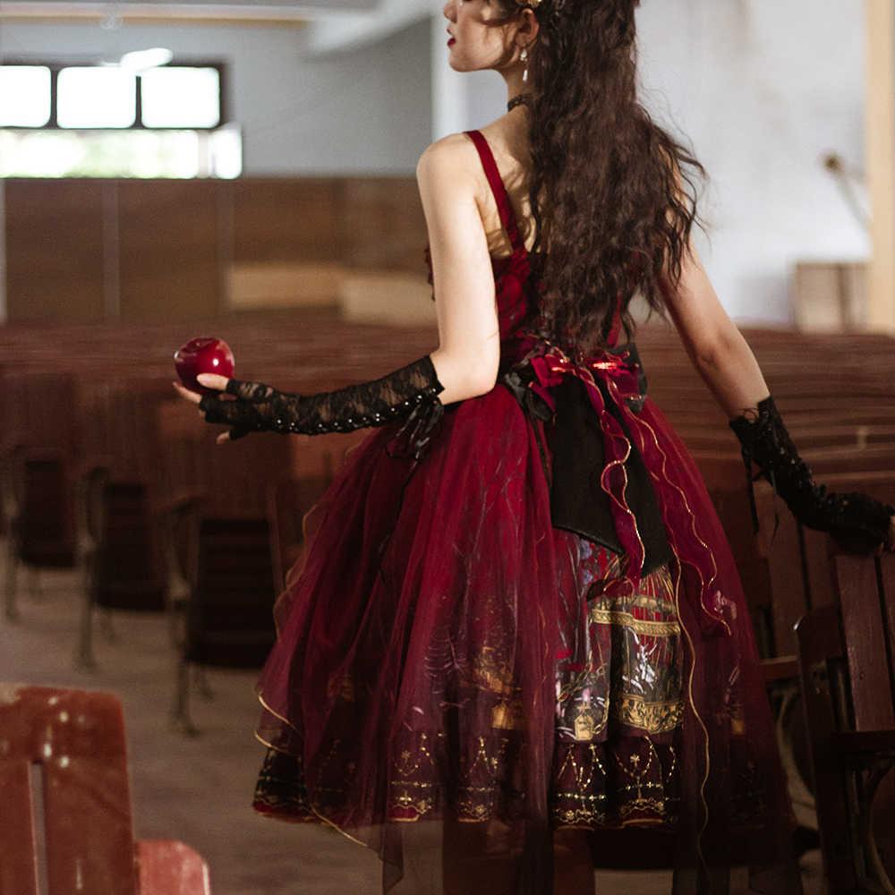 Melonshow Gothic Lolita Gaun Merah Victoria Gaun Plus Ukuran Sweet Lolita JSK Wanita Gothic Lolita Gadis Rok Kawaii Pakaian