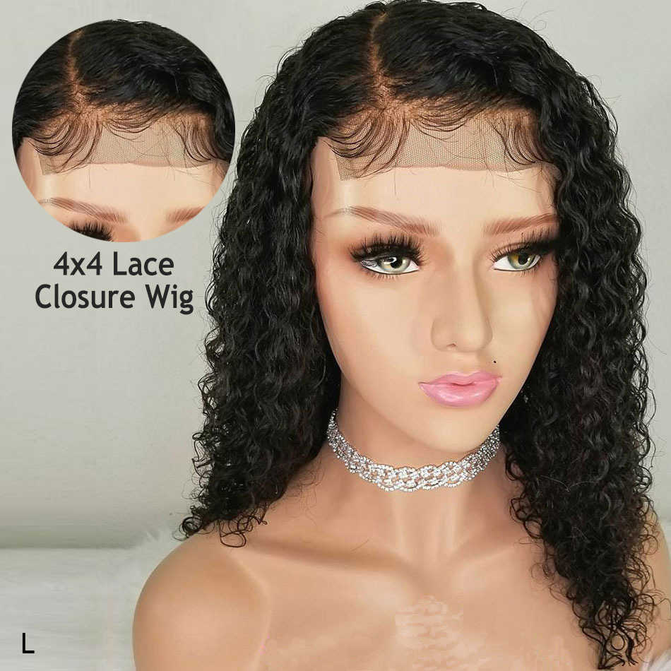 Remy Curly 4x4 Lace Closure Wig Brazilian Hair Bob Wig Short Human Hair Wigs For Black Women 150% PrePlucked Baby Hair Low Ratio
