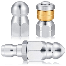 3 Pieces Sewer Jetter Nozzle Rotating Button Nose Sewer Jetting Nozzle Stainless Steel Fixed Sewer Nozzle